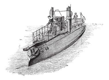 French Torpedo Boat, vintage engraving