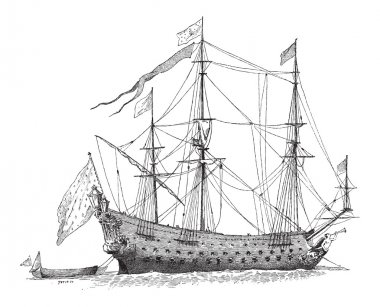 The Soleil-Royal, French Ship, vintage engraving
