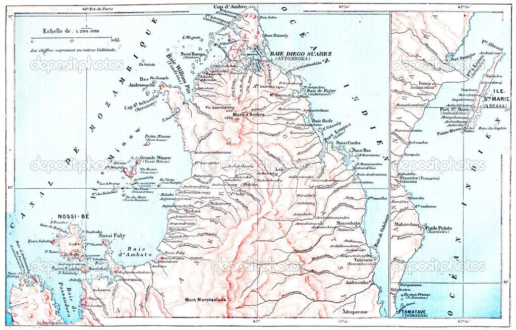 Carte Topographique De Madagascar.Carte Topographique De L Ile De Saint Mary A Madagascar
