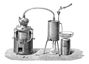 Still or Distillation Apparatus, vintage engraving