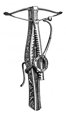 Cranequin, a type of Crossbow, vintage engraving