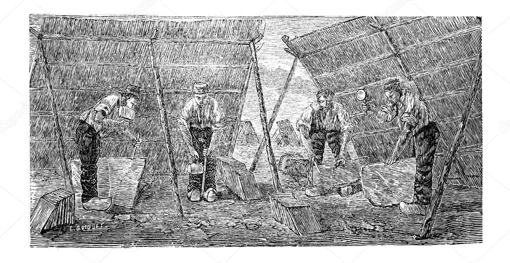 Incisione di lavoratori rendendo le mattonelle di marmo vintage