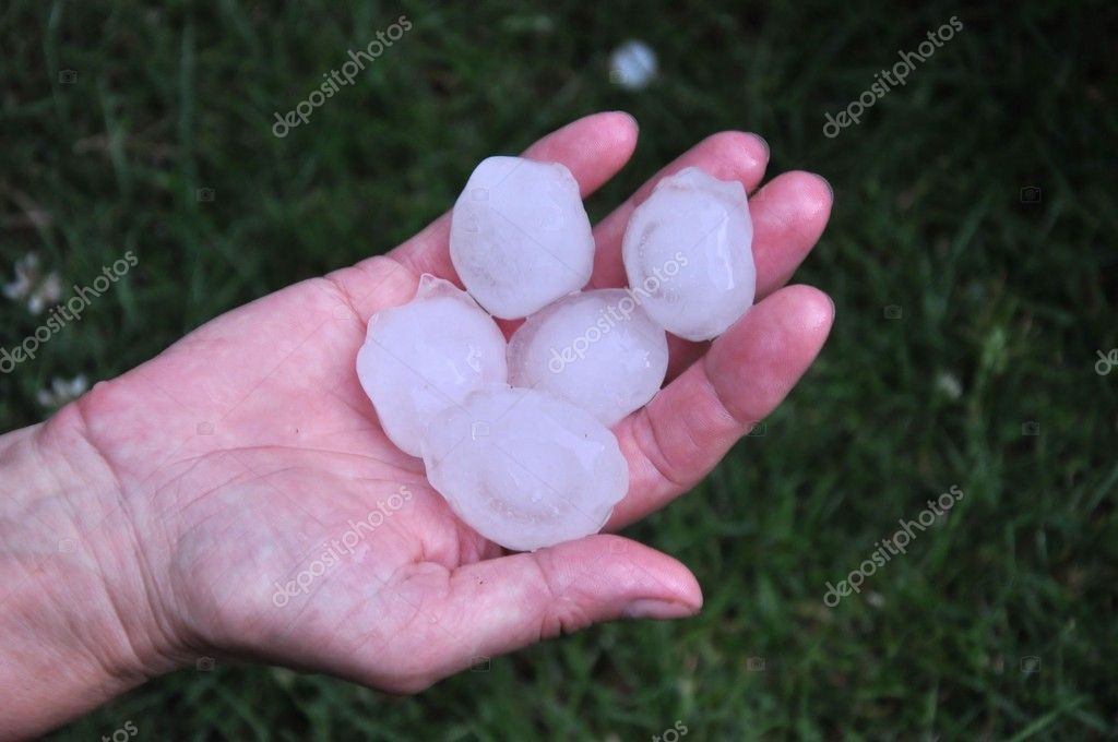 Big hailstone on the hand