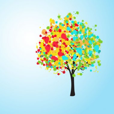 Pretty colorful abstract background with a tree