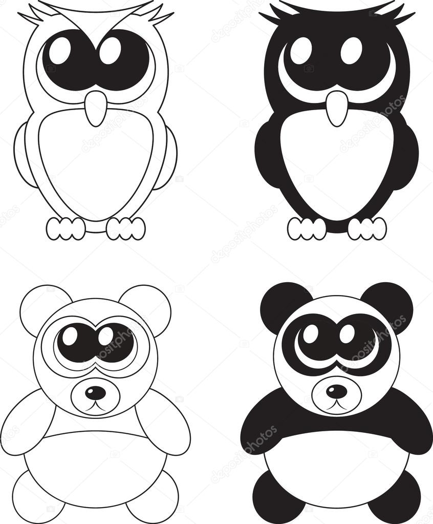 cute cartoon owl and panda with big eyes u2014 stock photo marina ua