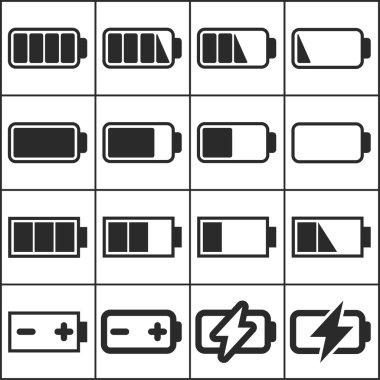 Set of flat simple web icons (charge level indicators, batteries, accumulators ), vector illustration clip art vector