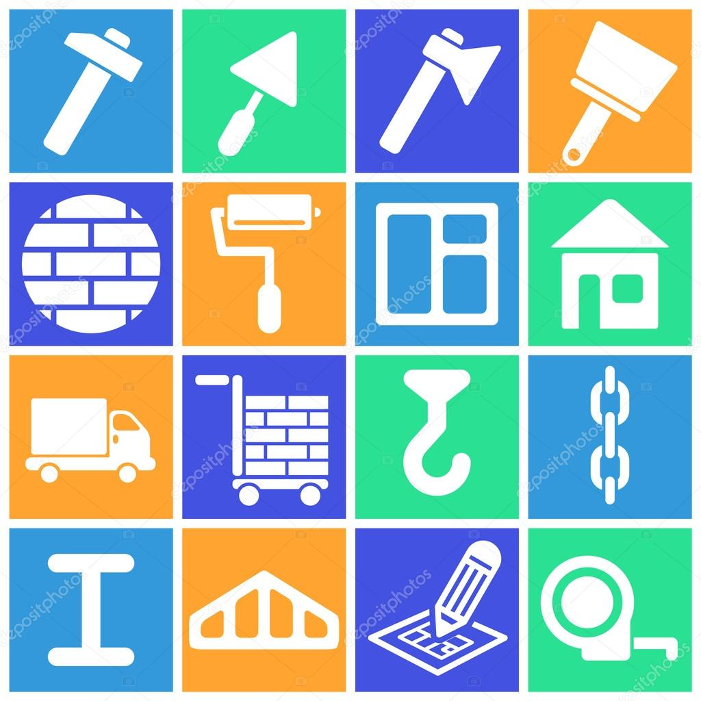 Set of flat colored simple web icons