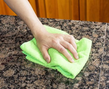 Wiping down Kitchen Stone Countertop