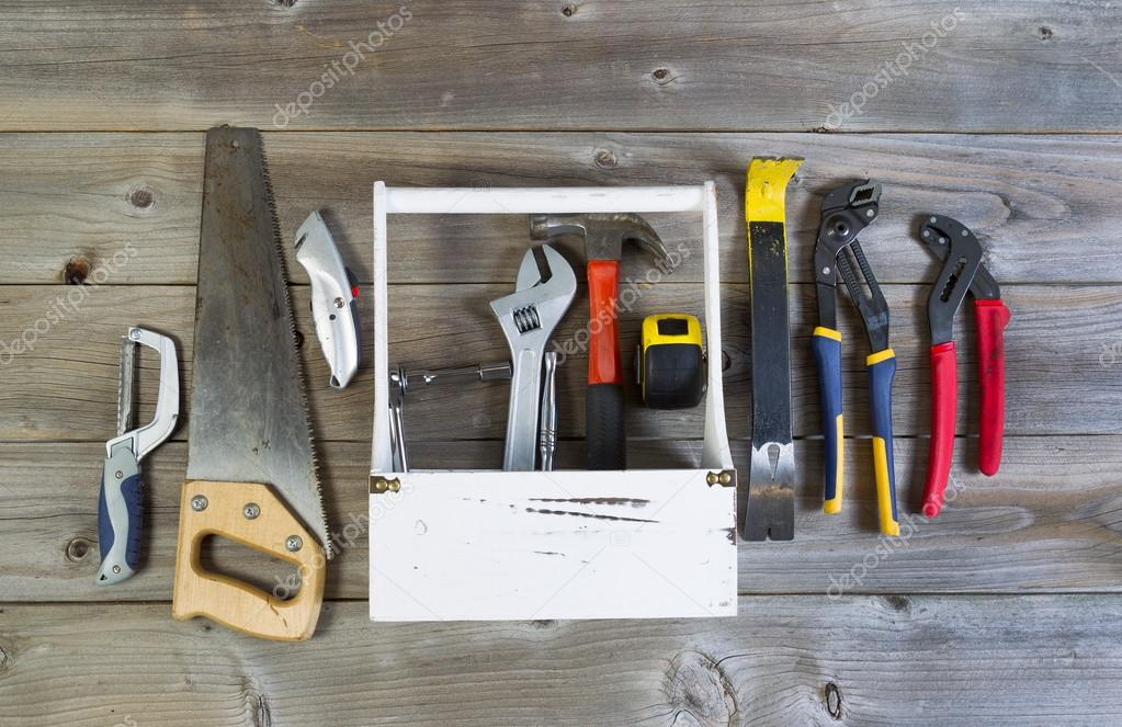 Basic tools with Holder on weathered wood