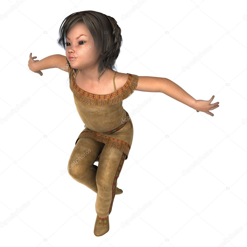 Digital 3D render de una linda niña baila en un traje de indiana aislado  sobre fondo blanco — Foto de PhotosVac d0355745e4f