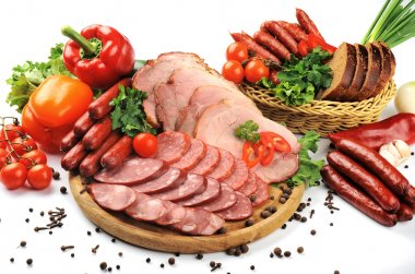 Sausages, meat and vegetables