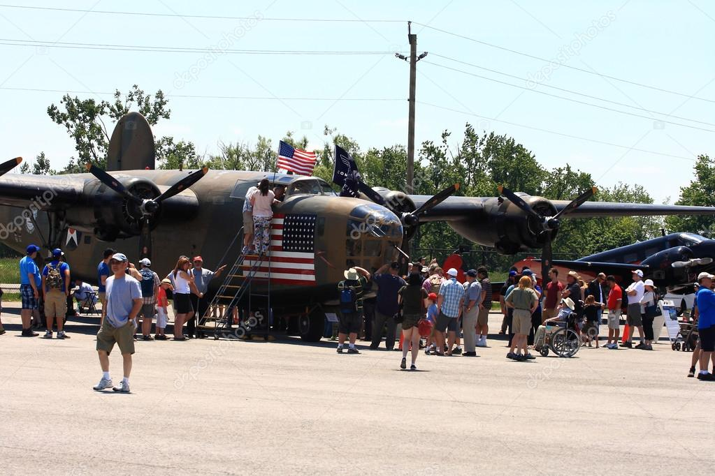 Front view of heavy bomber The B-24 Liberator ?Diamond Lil? on Fathers Day SkyFest in Hamilton Ontario