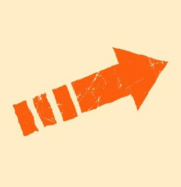 Orange arrow on beige background stock vector