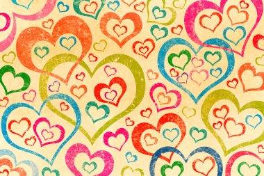 Naive art hearts background
