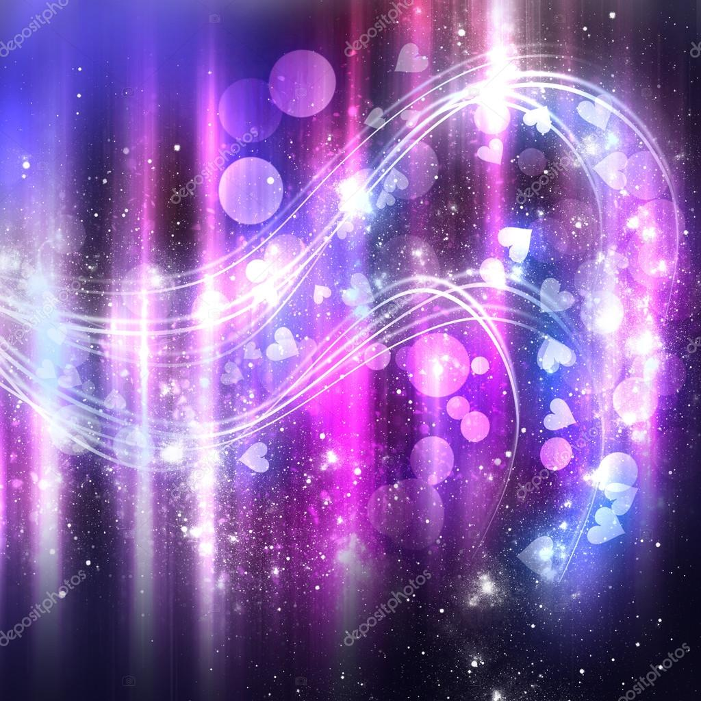 abstract purple shine background with stars and hearts