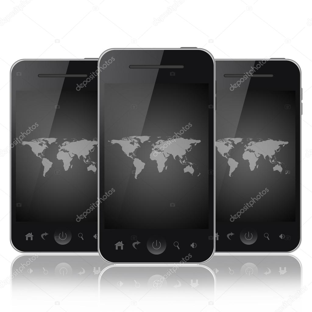 Mobile phones with gray world map on a screen isolated on white mobile phones with gray world map on a screen isolated on white background stock photo gumiabroncs Images