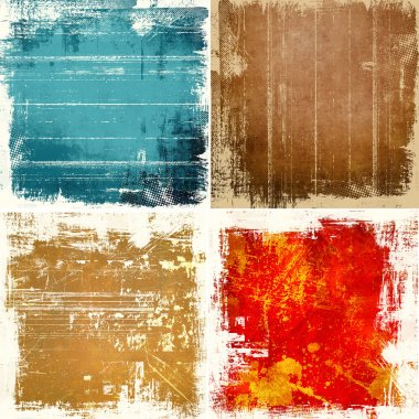 Grunge wall texture background set stock vector