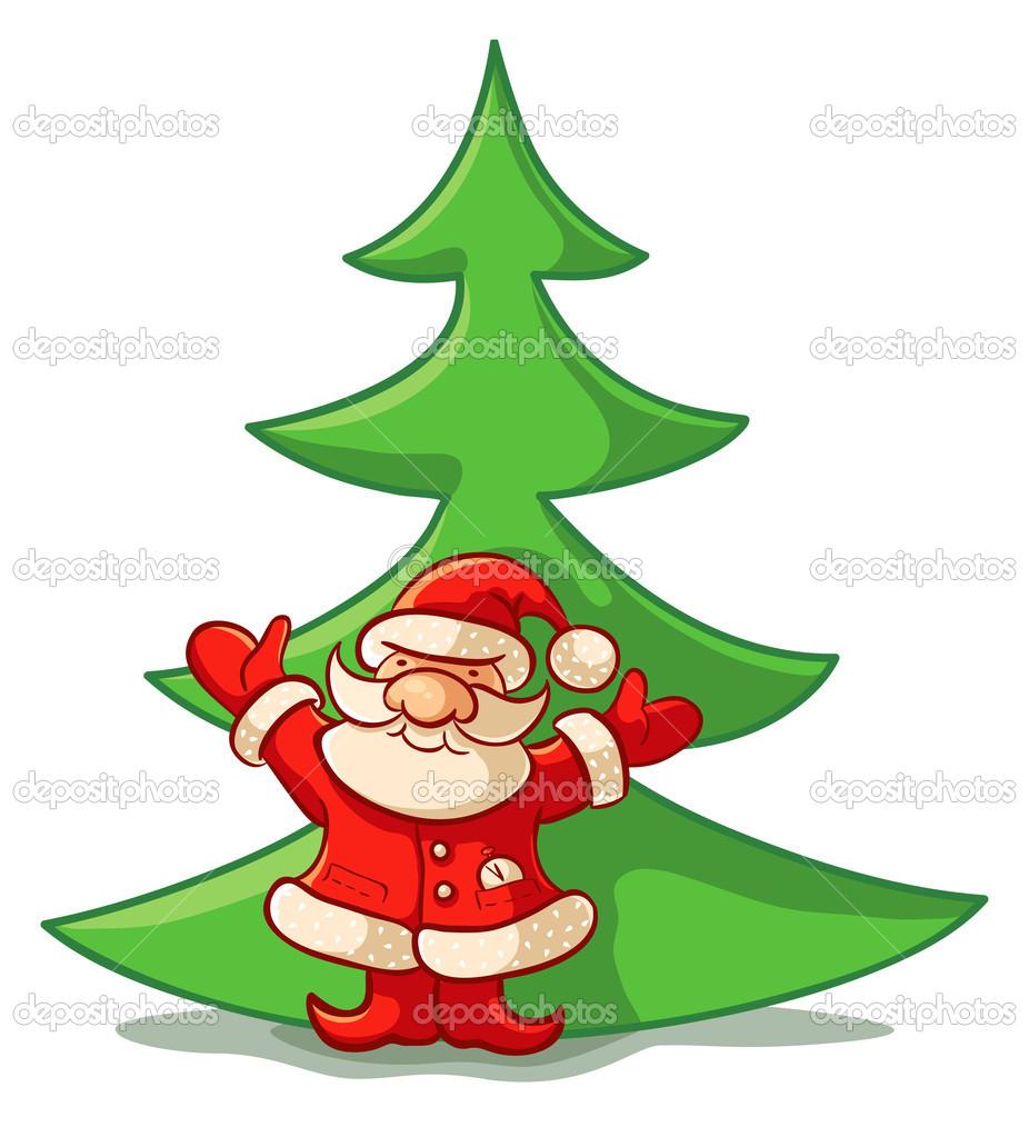 santa claus ans christmas tree u2014 stock vector serazetdinov 31362329