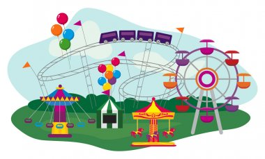 Illustration of an Amusement Park, isolated on white background stock vector
