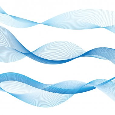 Blue contour graphics waves on a white background stock vector