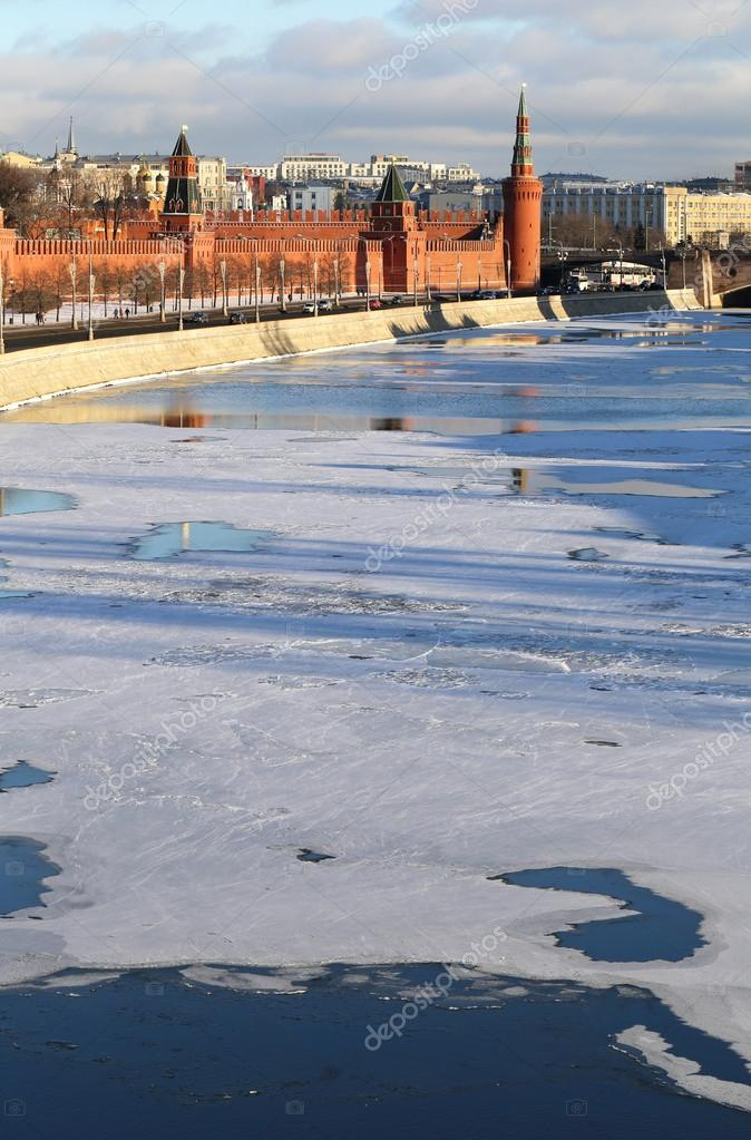 Moscow winter river landscape with Kremlin towers
