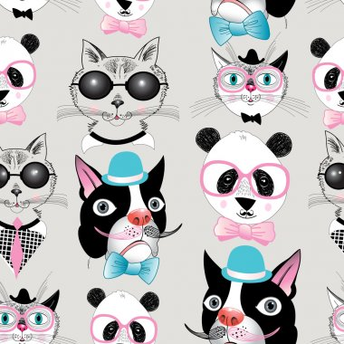Graphic seamless pattern of retro portraits of various animals stock vector