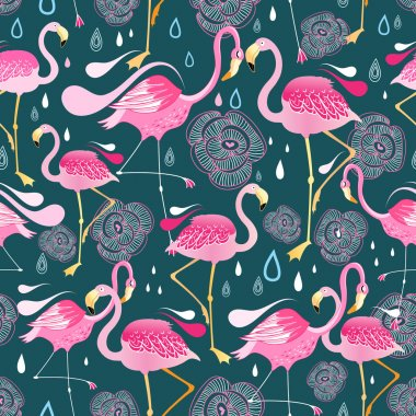 pattern with flamingos