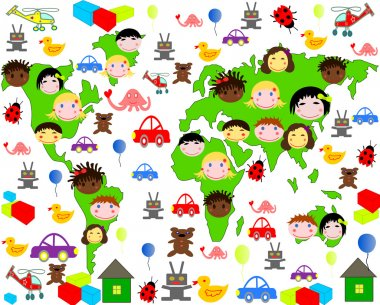 Persons of children of different races on the map of the world with toys