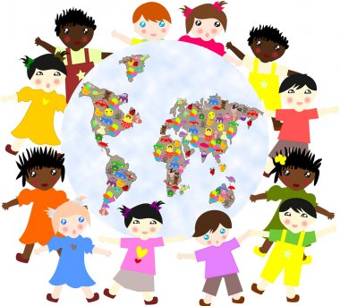 Children of different around races  planet with toys