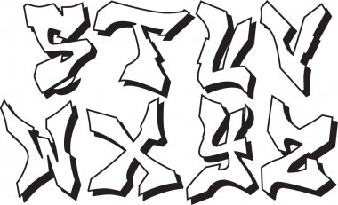 Vector graffiti alphabet part 3
