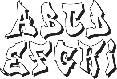 Vector graffiti alphabet part 1
