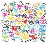 Fényképek több urban art és graffiti címkék, szlogenek, dekoráció. vektor