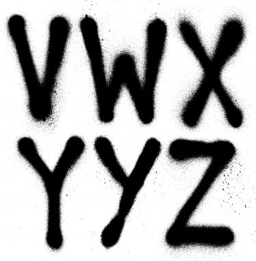 Detailed graffiti spray paint font type (part 4). Vector alphabet