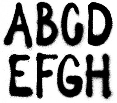 Detailed graffiti spray paint font type (part 1). Vector alphabet