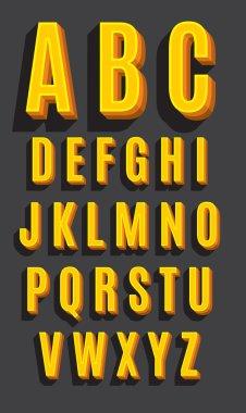 Vector retro type font. Vintage alphabet