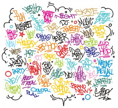 Multiple urban art and graffiti tags, slogans, decorations. Vector