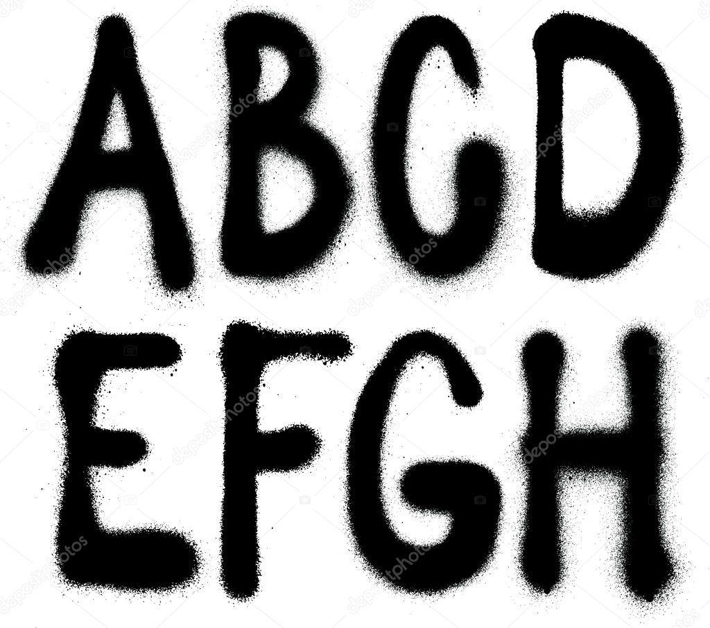 Detailed graffiti spray paint font type (part 1). Vector alphabet