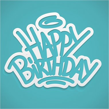 Happy birthday alligraphy label lettering card