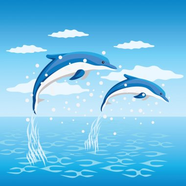 Two dolphins jumping from the sea. stock vector