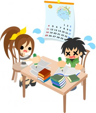 The homework of summer vacation.