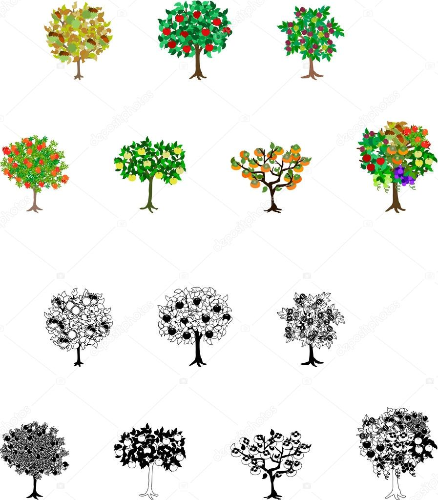 Fourteen Fruits Tree Icons