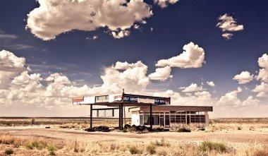 Old gas station in ghost town along the route 66