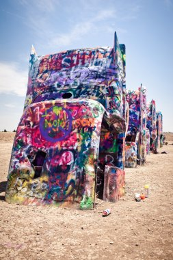 Art installation of the old Cadillac cars