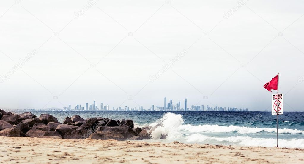 Gold Coast beach with No Swimming sign