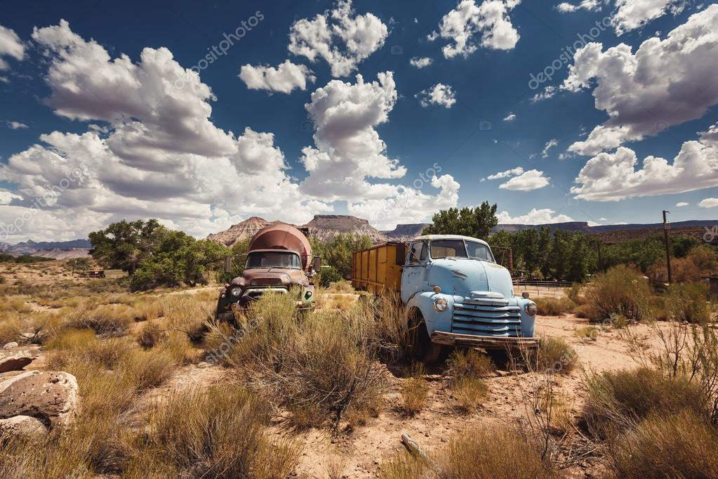 Rusty cars in abandoned town along Route 66