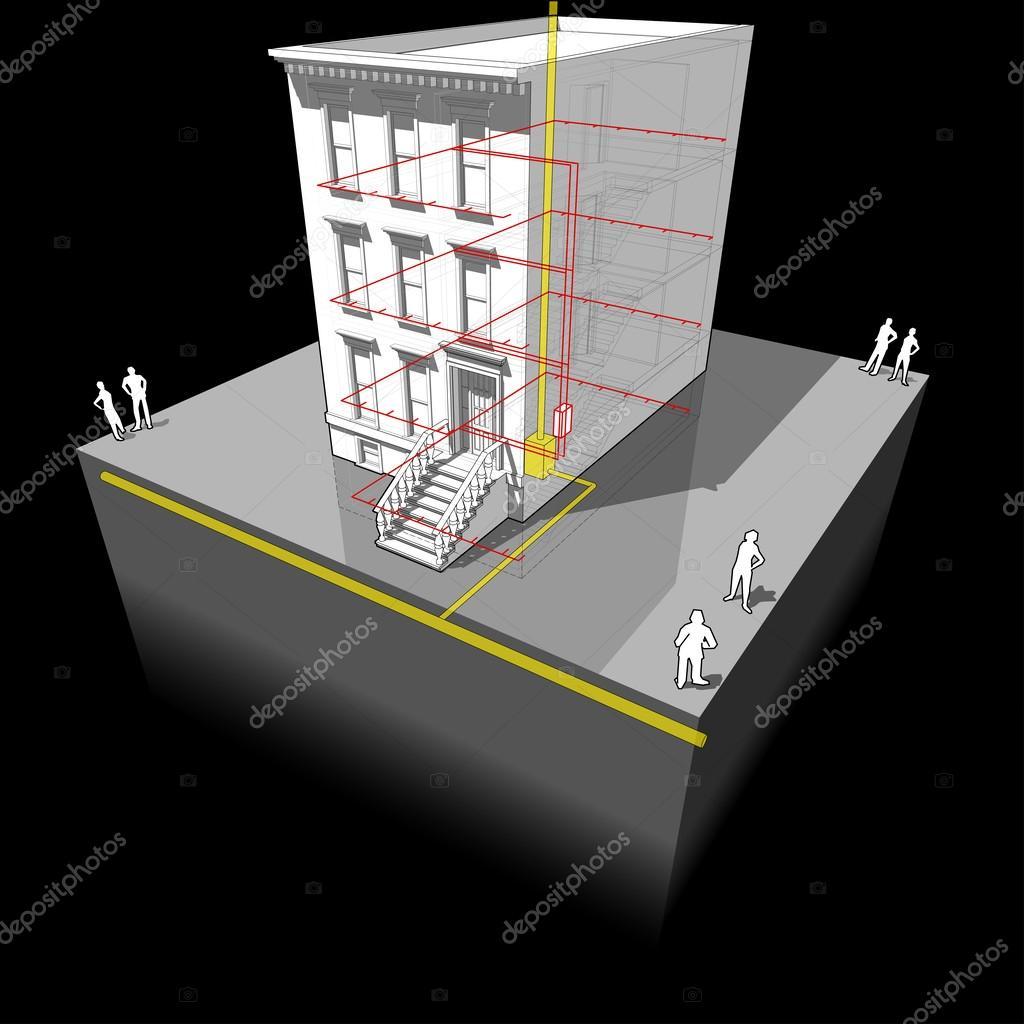 Stadthaus mit Gas-Mikro-Wärme und Strom-Generator-Diagramm ...