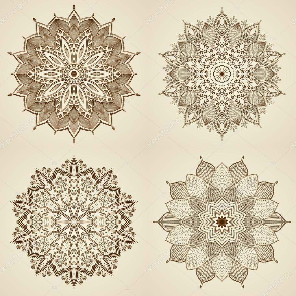 Set of four mandalas. Beautiful flowers.