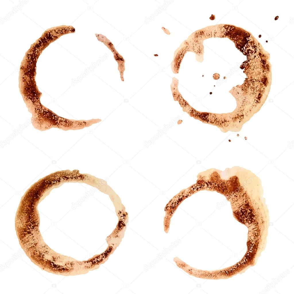 Set of coffee stains for design.