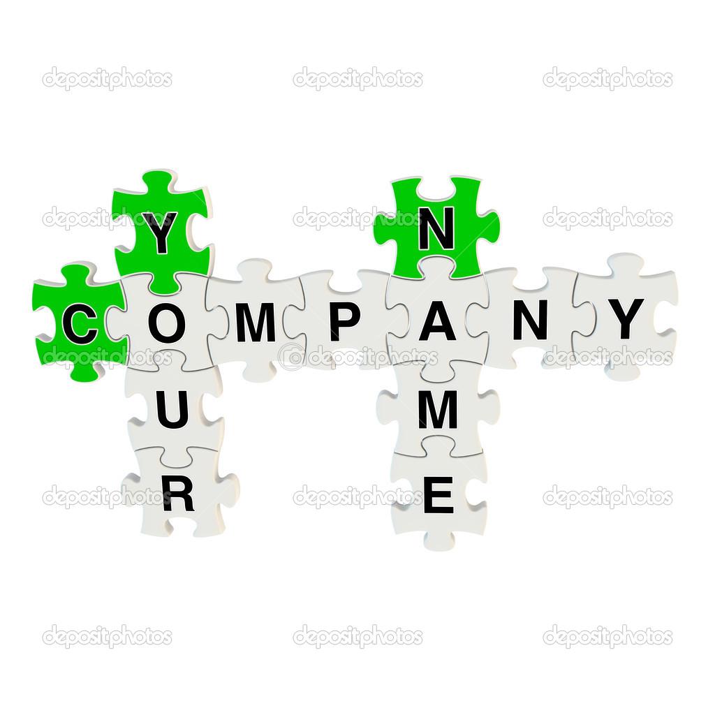 empresa nome quebra cabe a 3d em fundo branco stock