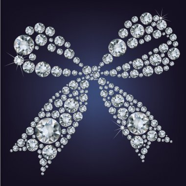 Shiny ribbon made up a lot of diamonds on the black background